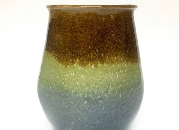 Wheel Thrown  Brown, Yellow and Blue, Square Ceramic Vase Ready to Ship