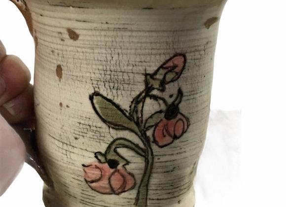 Handmade Ceramic, Distressed and Rustic Mug with Pink Flowers