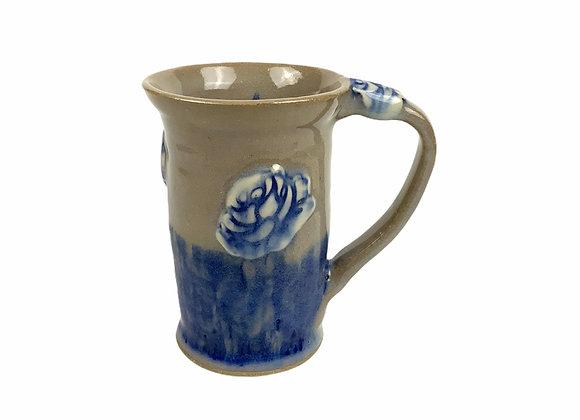 Wheel Thrown Ceramic Mug with a Rose Thumb Rest