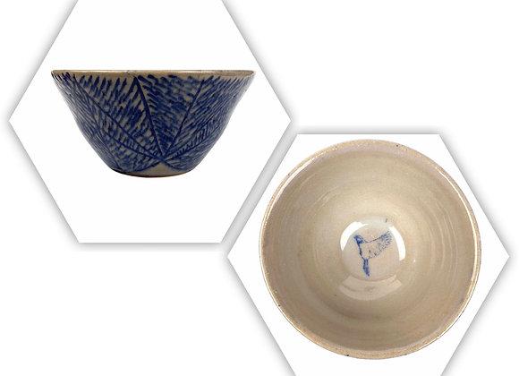 Carved, Cobalt Blue Ceramic Bird Bowl, Handmade Pottery,Ready to Ship
