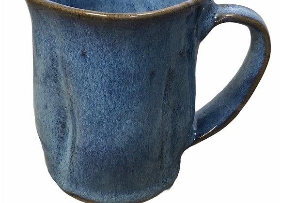 Square Cobalt Blue Ceramic Mug Wheel Thrown Pottery Ready to Ship