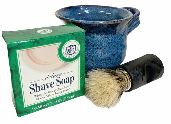 Shave Mug Gift Set for Him Wheel Thrown Stoneware Pottery Cobalt Blue