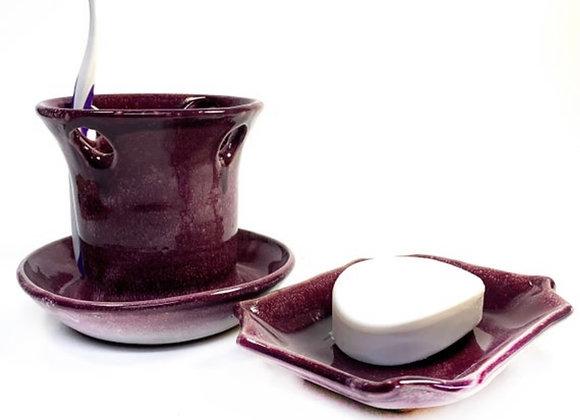 Purple and white Ceramic Bathroom Set Wheel Thrown Pottery Ready to Ship