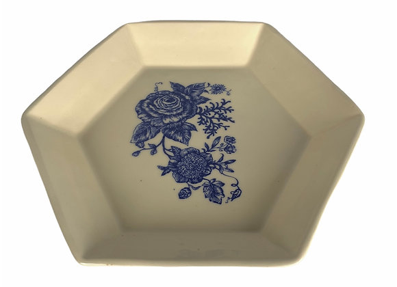 Cobalt and White Octagon Deep Dish Pie Plate Stoneware Pottery Ready to ship