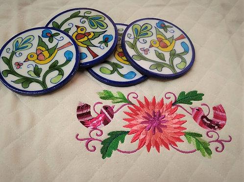 Handmade Jaipur Blue Pottery Serving Tea Cup Coaster