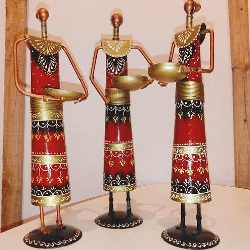 Wrought iron tribal lady Tlight holder