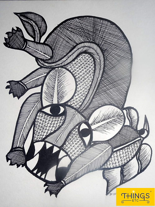 "Gond Painting 11x15""Animal Design"