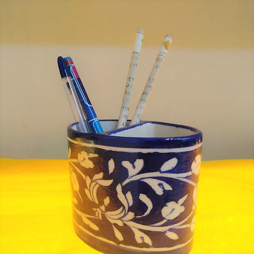 Blue Pottery Pen Stand Or Tooth Brush Holder