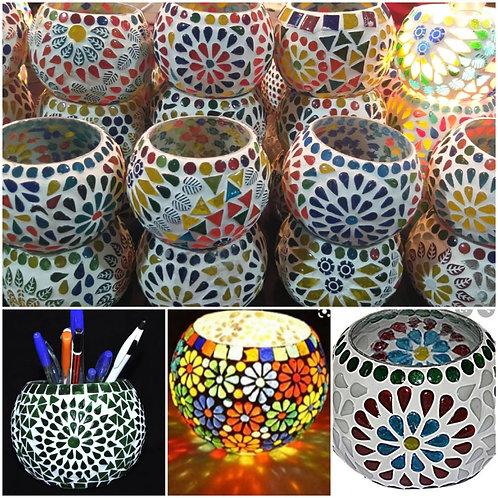 Glass Mosaic Tlight holders - Set of 2
