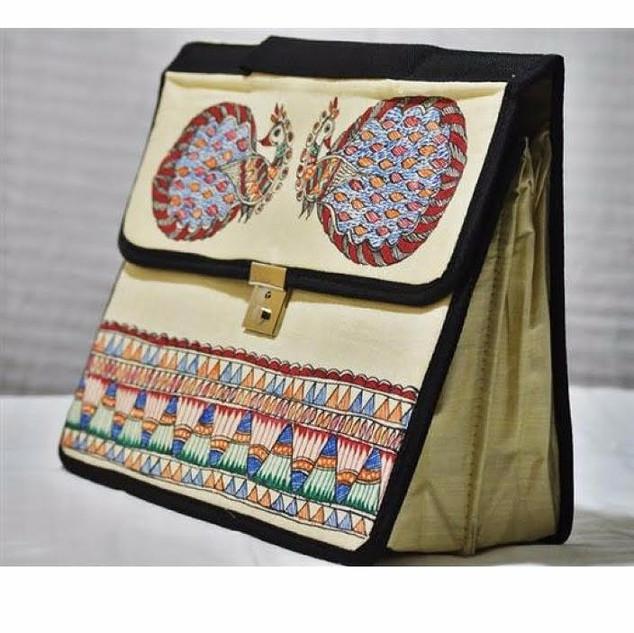 Madhubani Design Silk Laptop Bag