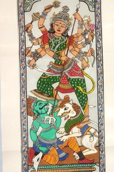 Pattachitra Tussar Silk Painting Durga Maa