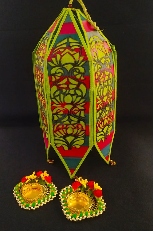 Palm Leaf Lanterns / Kandil / Akash Kandil With 2 Diya