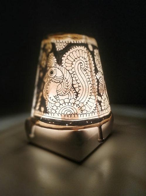 "Handmade Leather Lamp Shade (5"" B/W)"