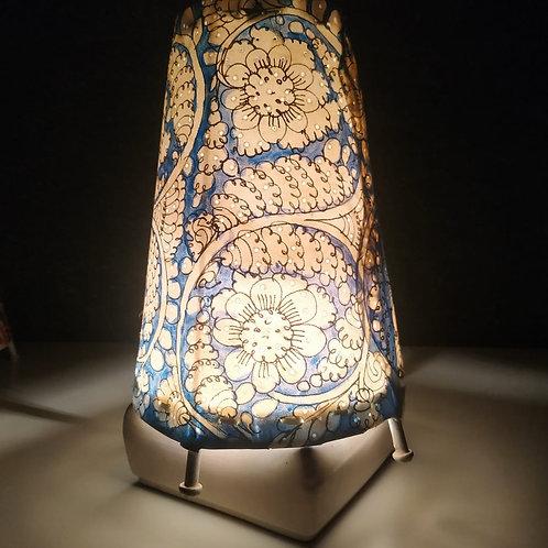 "Handmade Leather Lamp Shade (8"" Blue Round)"