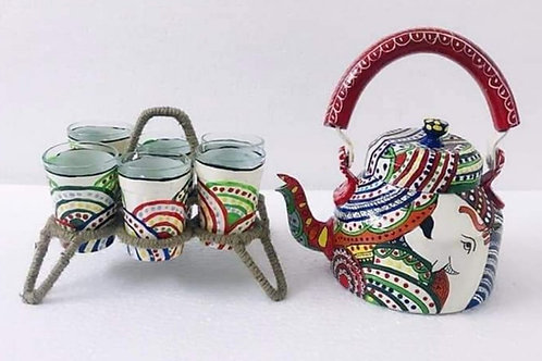 Hand Painted Tea Kettle and Glass Set (Ganesh)
