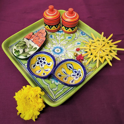 Pooja Essentials In Blue Pottery