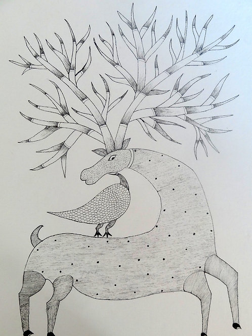 """Gond Painting 11x15"""" Deer And Bird"""