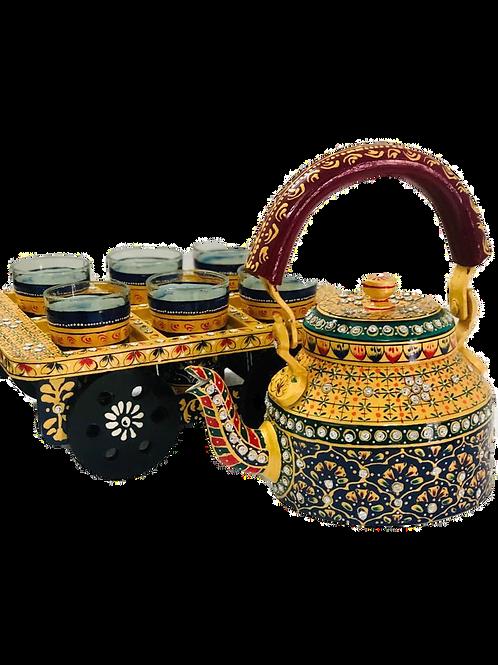 Hand Painted Tea Kettle and Glass Set (Meenakari)