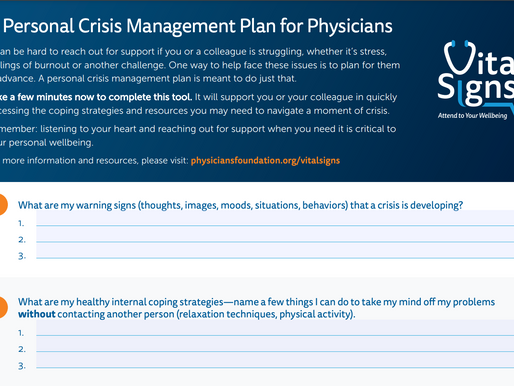 Physicians Foundation Releases Personal Crisis Management Resource