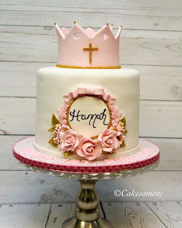 #1stbirthday #njcakes #nj #fondantcake #christening #babygirl #crown #newjersey #southbrunswick #cak