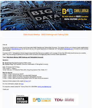 Data Studio Meetup: B4B Challenge and TalkingData University on Oct 27