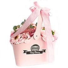 Basket soap flower bouquet pink - SFB-15