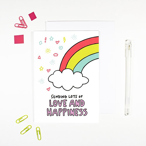 Sending Lots of Love and Happiness Affirmation Card by Angela Chick