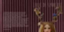 Revue art, femme avec bois de cerf, énuclée, esprit de bois