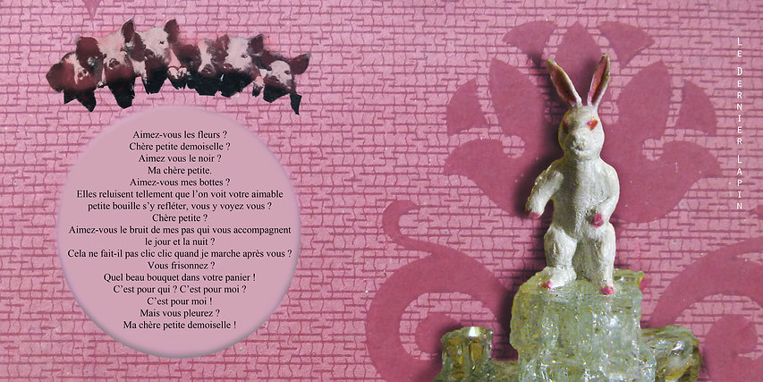 Lapin dernier sous globe en verre, cabinet of curiosity, pig pink