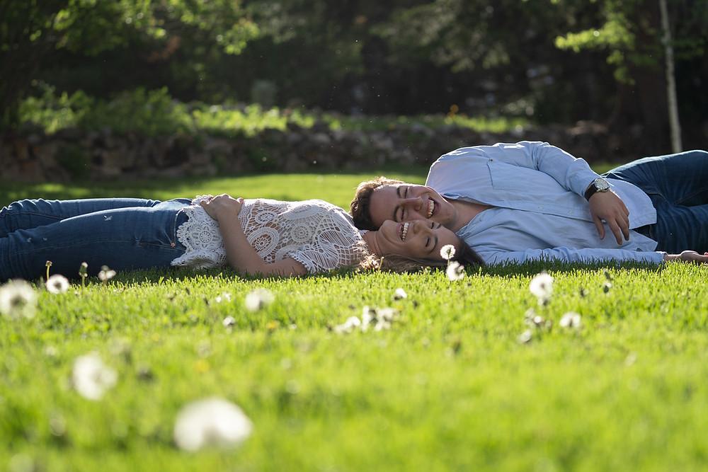 Banff National Park Cascade Gardens Couple In Grass