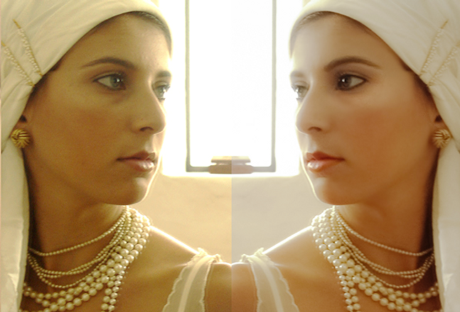 the colorist Esther Tejada is color grading