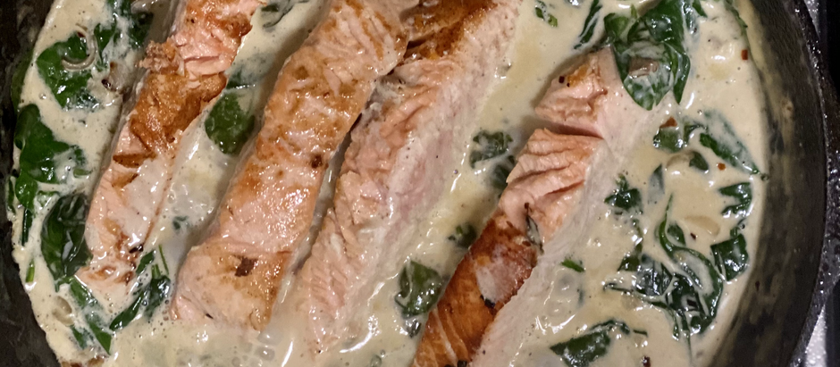 Salmon and spinach in a creamy sauce