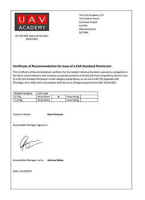 Certificate UAV Service Provider by The UAV Academy, Cirencester