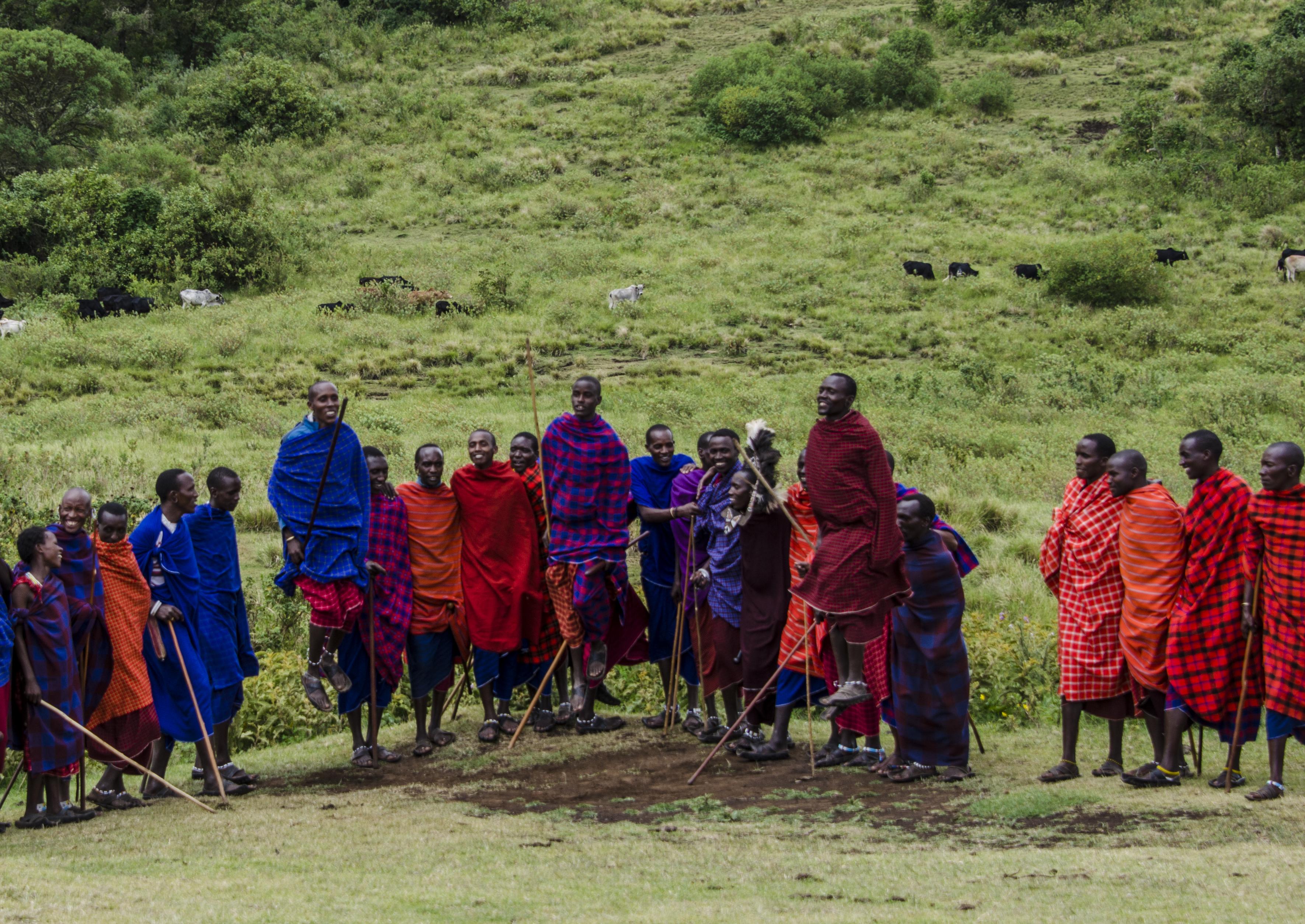 Massai men dance