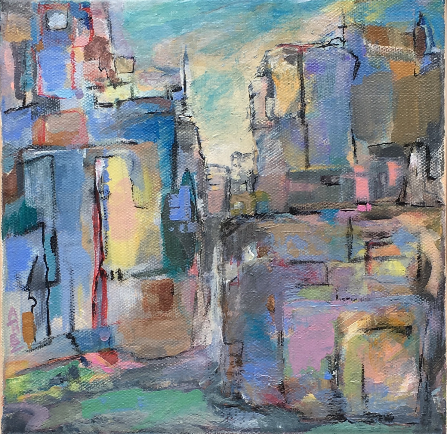"City Sunset 8"" x 8"""