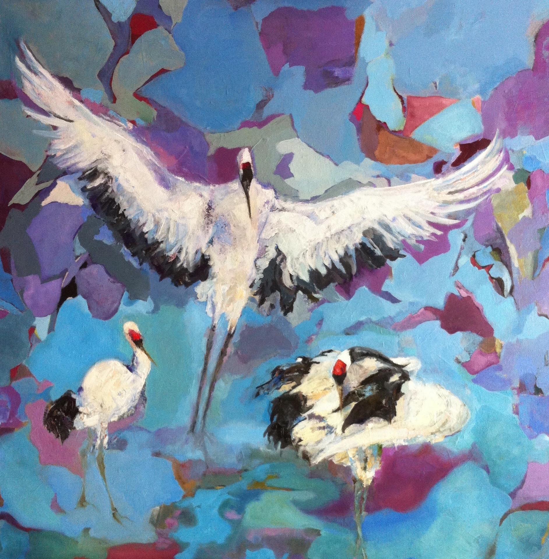 "Red Crown Cranes in Nature  30""x 30"""
