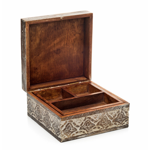 Antique Mango Wood Jewelry Box Welcome Beautiful Fairtrade