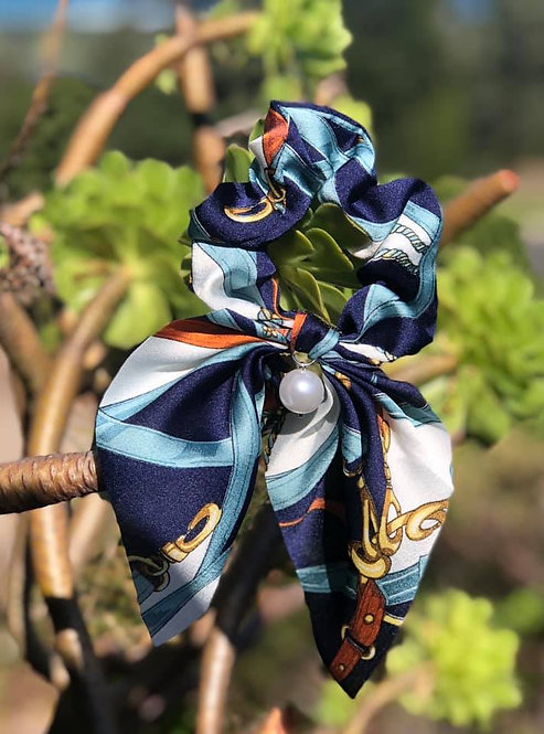 Blue Scrunchie with Pearl