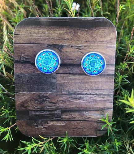 Mandala Studs - Blue