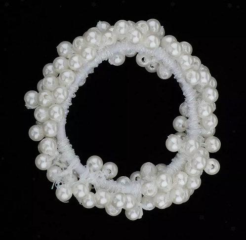 Full Pearl Hair Tie White
