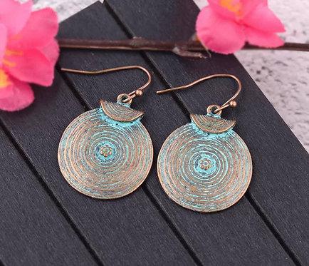 Metal and Jade Dangle Earrings