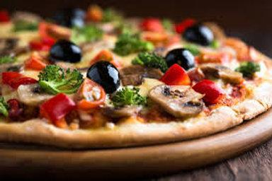 E - PIZZA DE VEGETALES CON SALSA DE TOMATE SIN QUESO