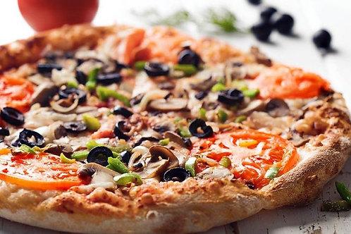 E - PAN PIZZA DE VEGETALES Y ACEITUNAS NEGRAS
