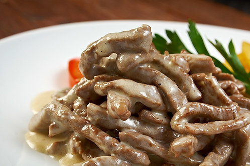 Carne de res a la crema de champiñones