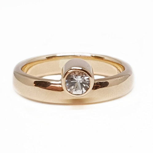 Asymmetric Rose Gold and Sapphire Ring