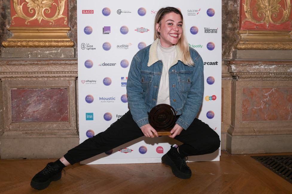 """Prix Audible du public : Sophie-Marie Larrouy et Quentin Bresson (Binge Audio) """"À bientôt de te revoir"""", pour l'épisode """"Marina Rollman""""  Sur la photo : Sophie-Marie Larrouy"""