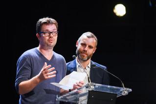 Florent Latrives (délégué aux nouveaux médias chez France Culture, membre du jury), et Alexandre Vekhoff (Targetspot)