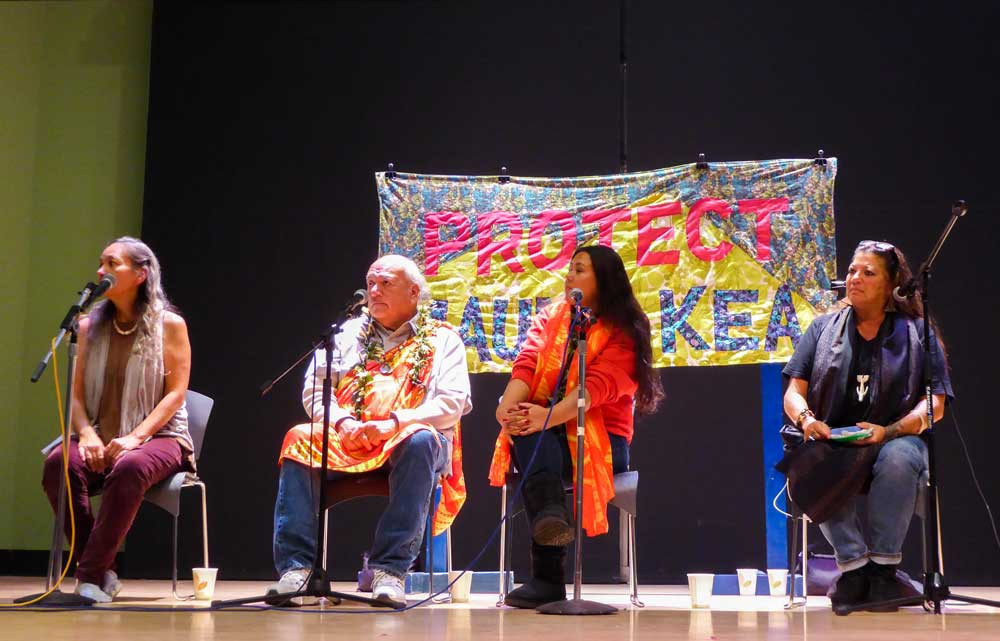 UC Santa Cruz : Panel speakers Laulani Teale, Valentin Lopez, Morning Star and Kealoha Pisciotta answered questions from the crowd in a Q&A session before a performance by Laulani Teale and Liko Martin. Photo by Josephine Joliff