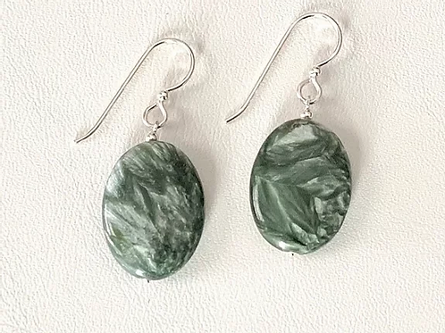Oval Seraphinite Earrings Beaded with Sterling Silver