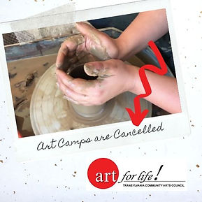 Pottery Wheel and label stating art camps are cancelled